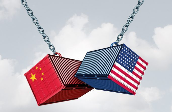 China Usa Trade War And American Tariffs As Two Opposing Cargo F